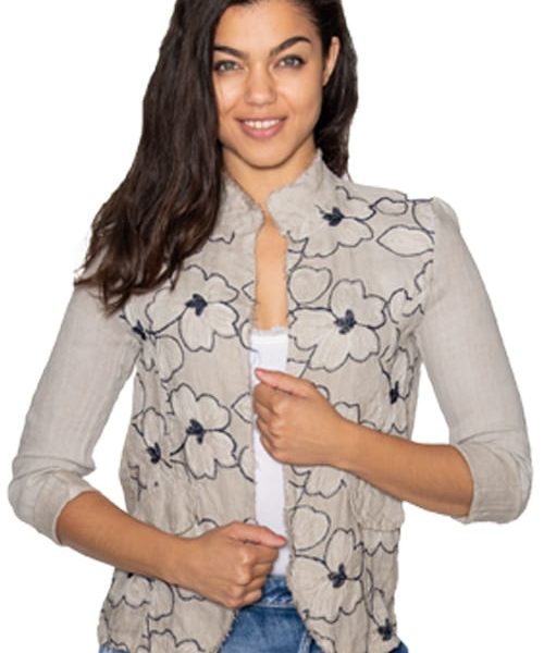 Linen embroidered floral jacket