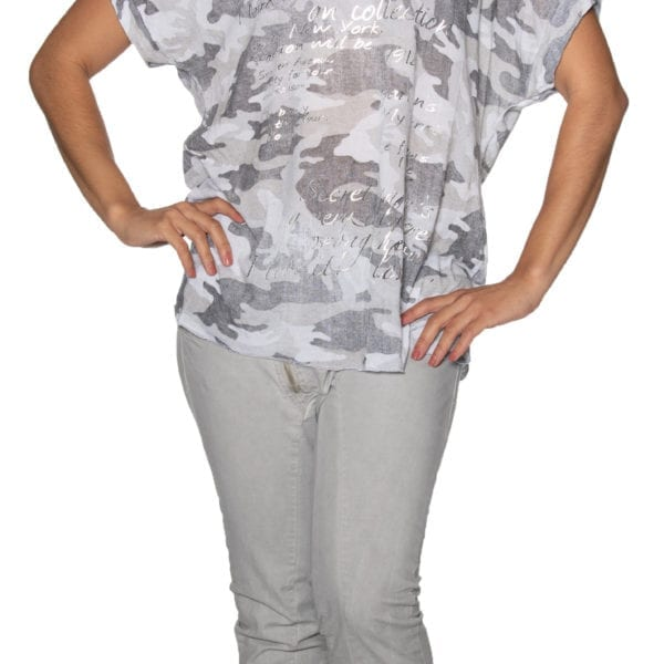 Camou word print top