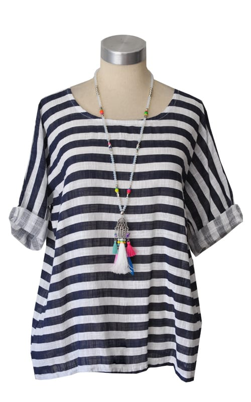Linen striped boxy top