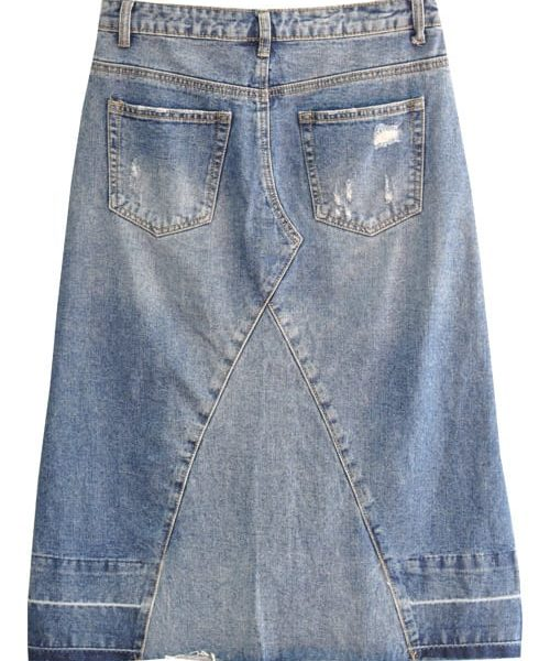 Denim panel skirt