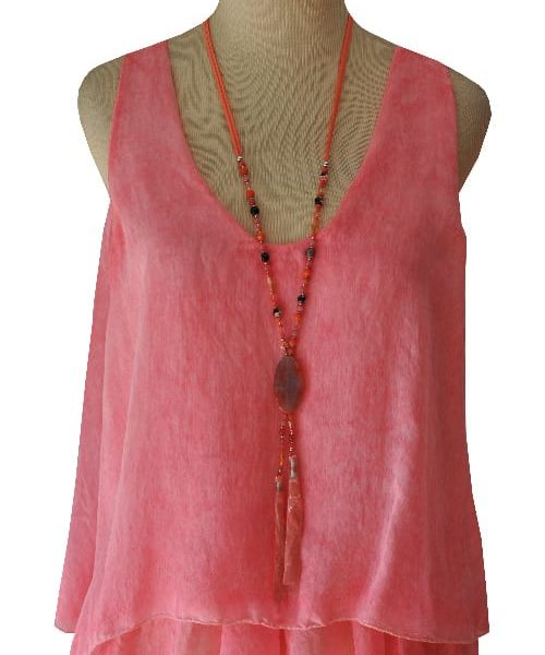 Sleeveless double layered silky cami
