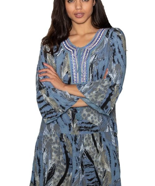 Embroidered placket kaftan
