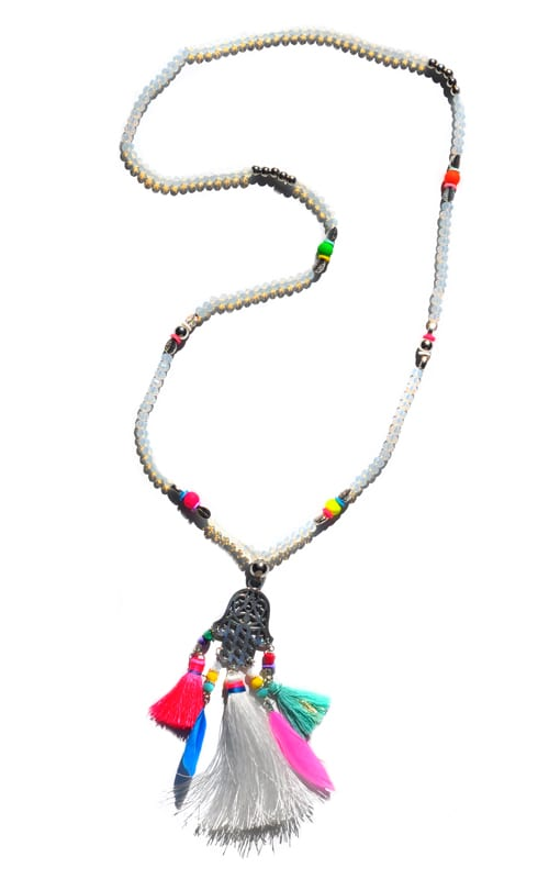 Clear hamsa feather necklace