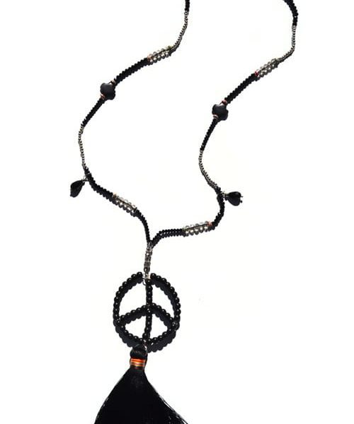Crystal peace tassel necklace