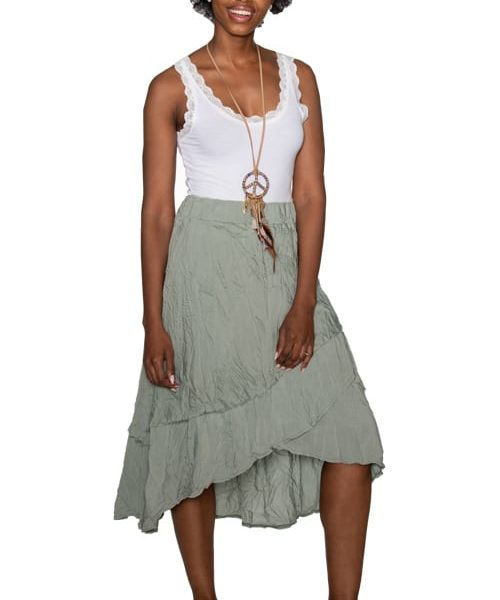 Silk mix layered skirt
