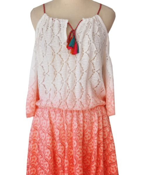 Lace dip dye cold shoulder dress