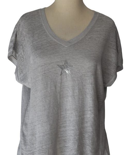 Star motive v-neck t-shirt