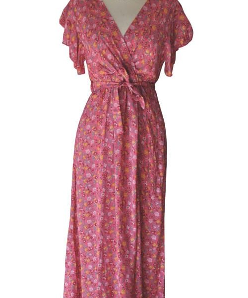 Frilled sleeved floral maxi dress