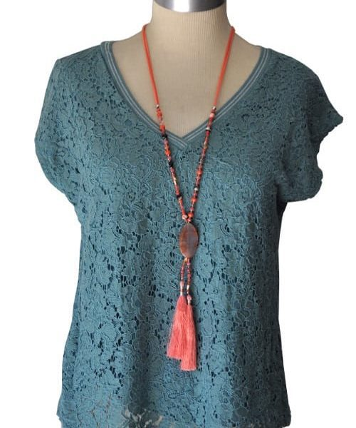 Double lace v-neck t-shirt