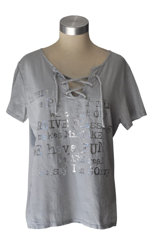 Lace-up silver word top