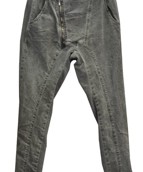 2-Textured asymmetrical zip pants