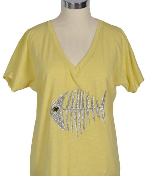 Sequin fish boxy top