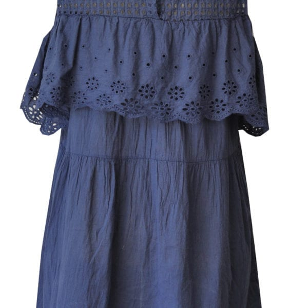 Cold shoulder anglaise frill dress