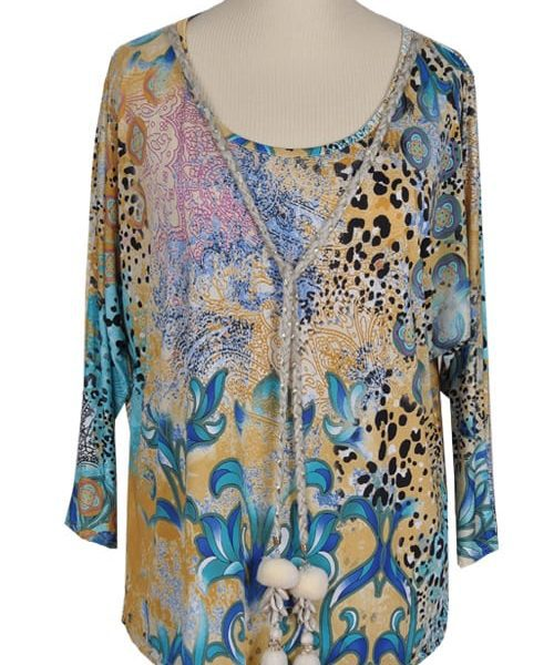 Animal paisley print pom pom top