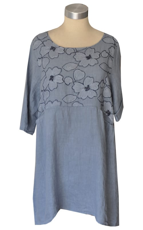 Linen embroidered floral dress