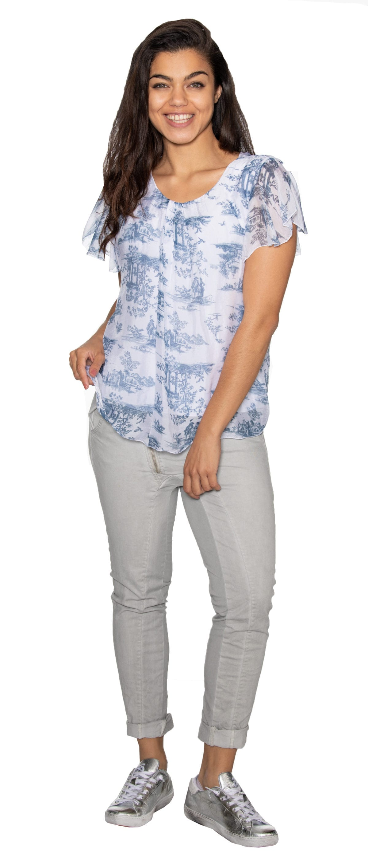 Silk toile print top