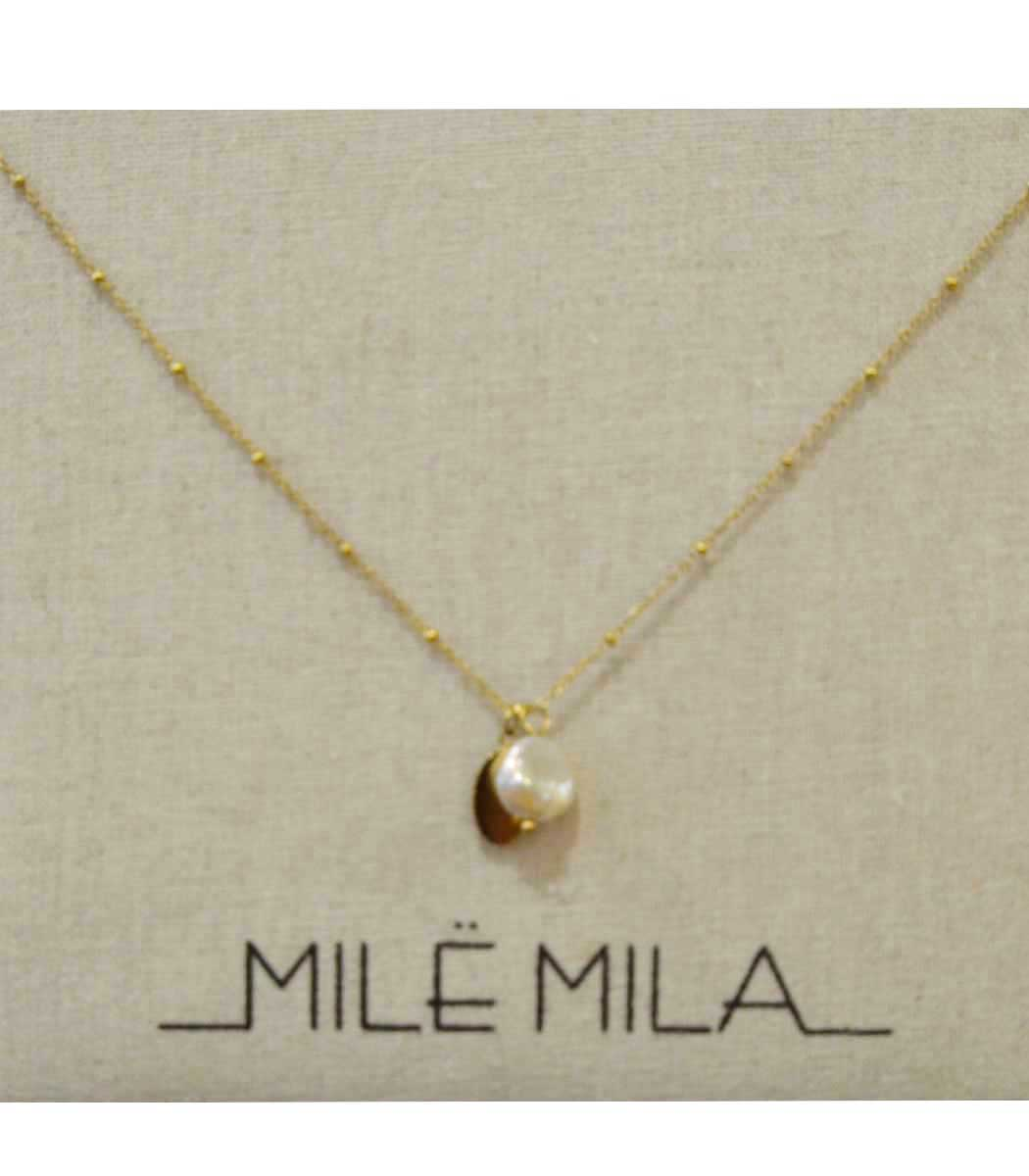 Stainless steel gold mini pearl charm necklace