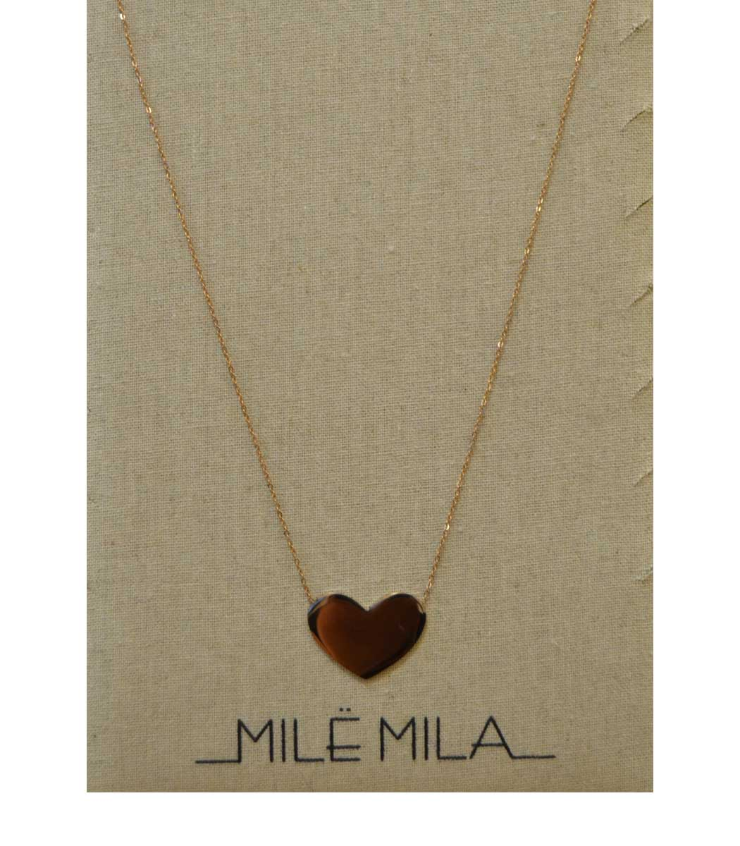 Stainless steel rose gold heart disc necklace