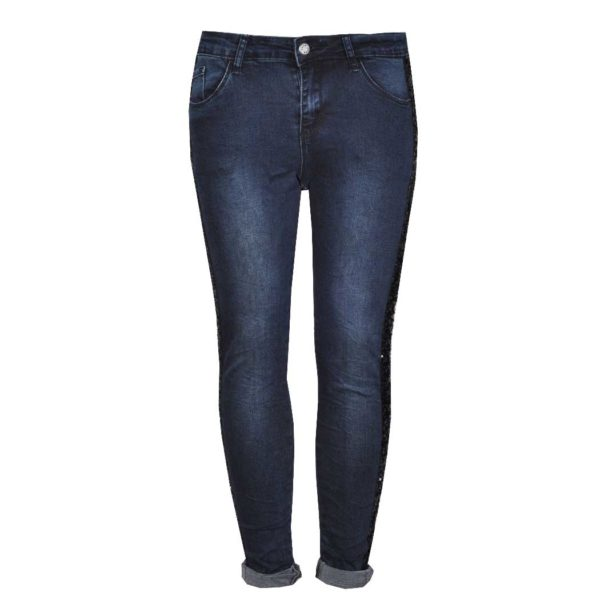 Sequin stripe dark denims
