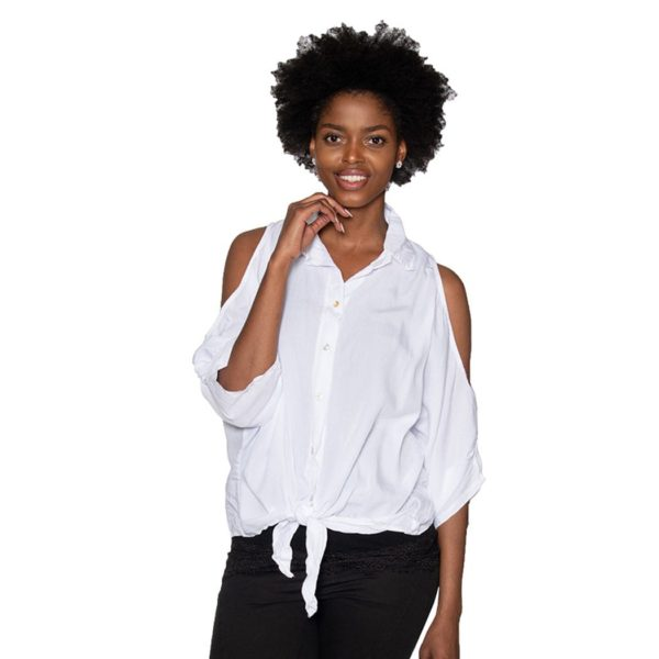 Cold shoulder tie shirt