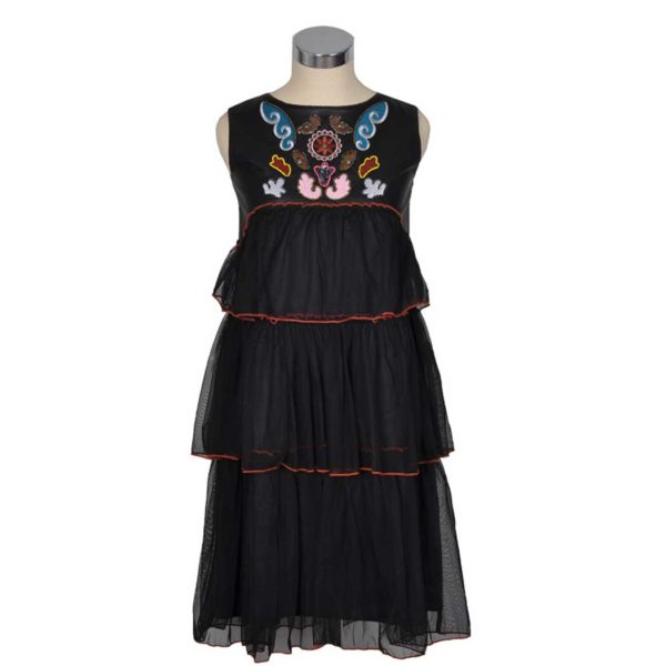 Tiered embroidered beaded dress