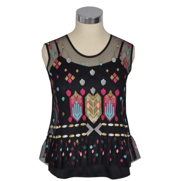 Aztec embroidered mesh sleeveless top