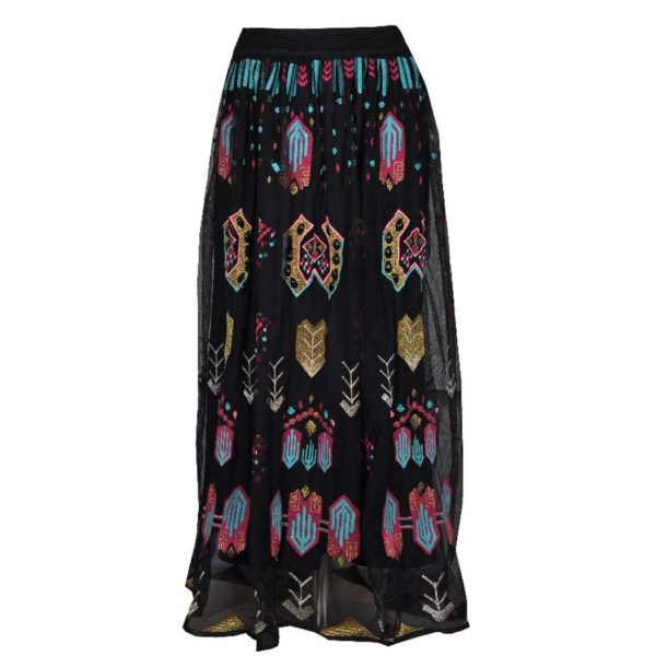 Mesh aztec embroidered skirt
