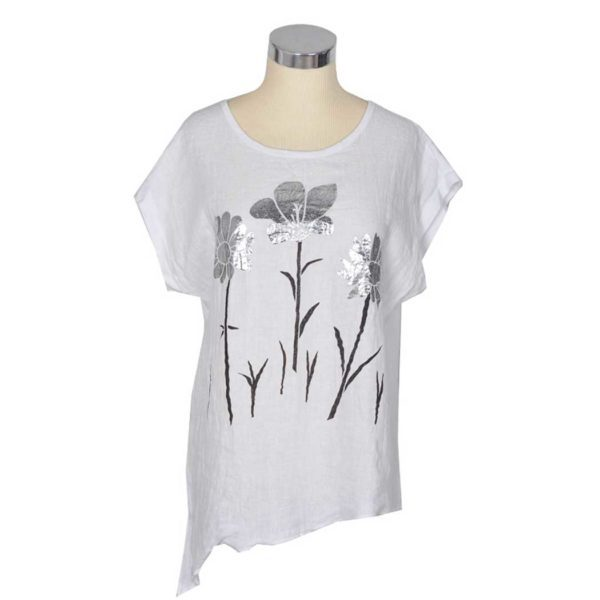 2-Textured silver foil print flower top