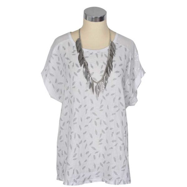 2-Textured linen mini leaf print top