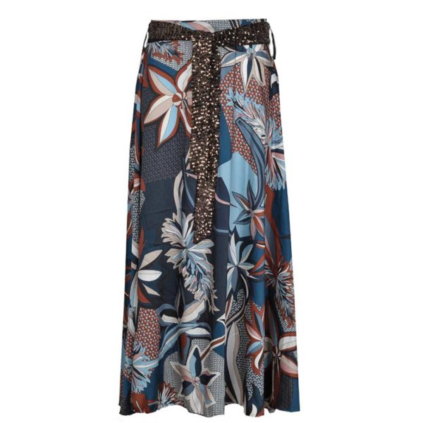Maxi floral patch print skirt
