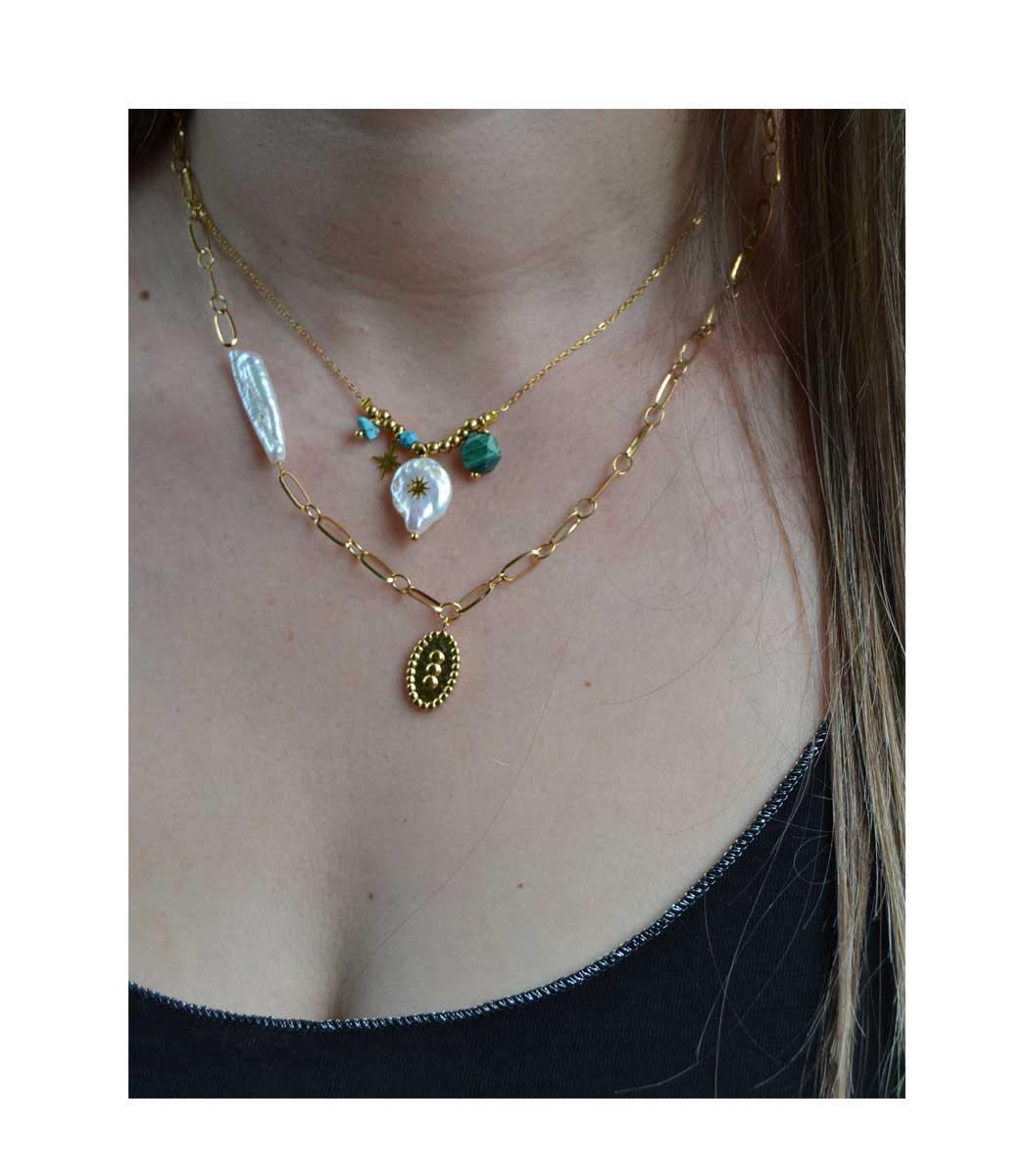 Stainless steel gold pearl charm necklace