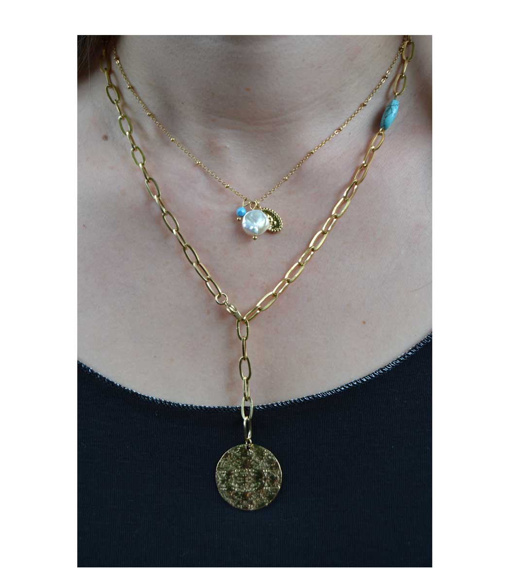 Stainless steel disc turquoise charm necklace
