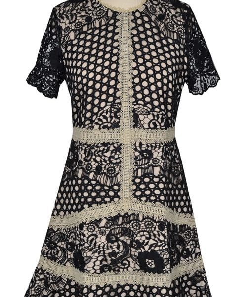 Crochet lace panel dress