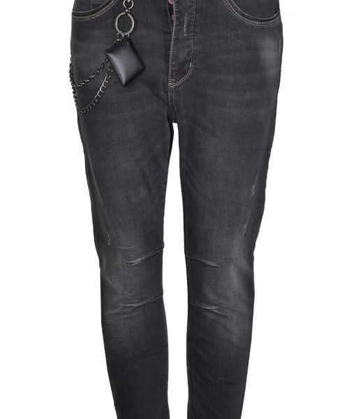 Chain detail tuck jeans