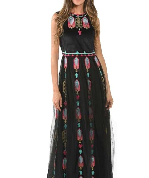 Aztec embroidered mesh dress