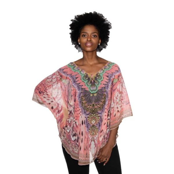 Feather print batwing kaftan