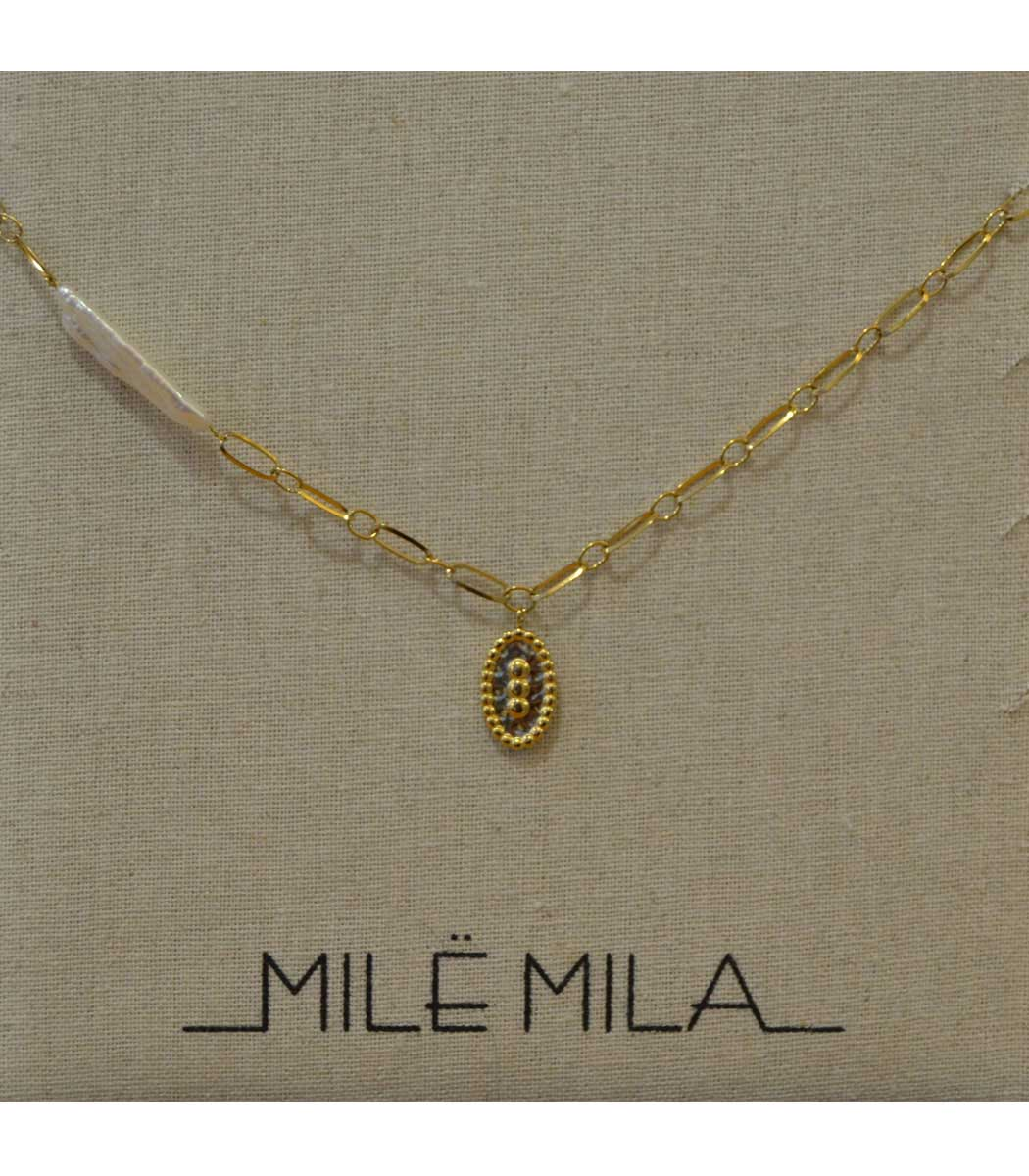 Stainless steel link chain charm necklace