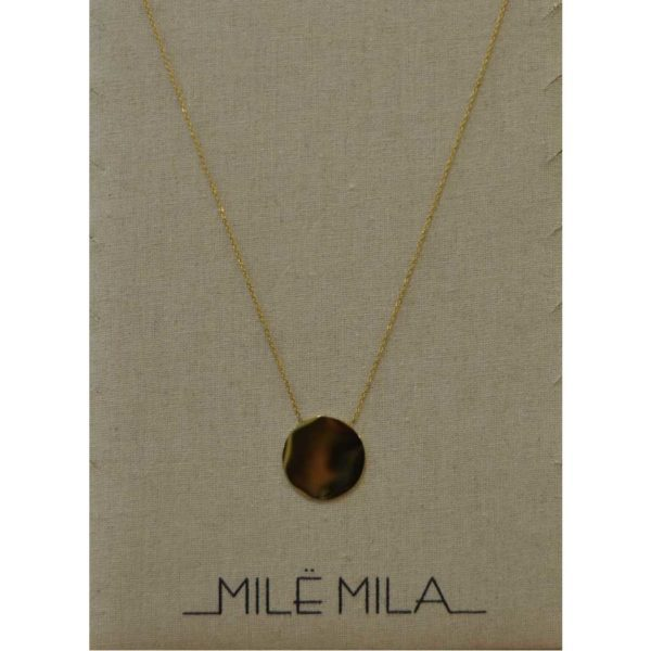 Stainless steel gold circle disc necklace