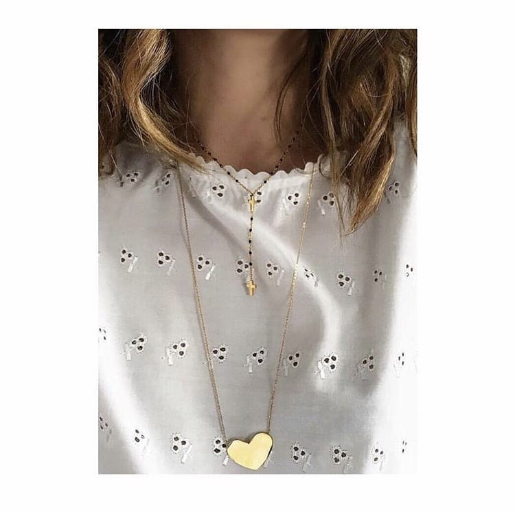 Stainless steel gold heart disc necklace