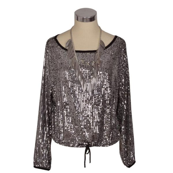 Sequin long sleeve drawstring bottom top