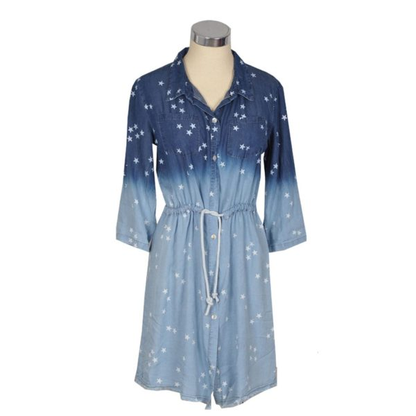 Star print ombre denim dress