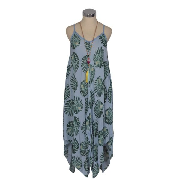 Sleeveless giant leaf print dress
