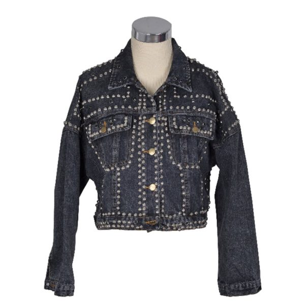 Studded boxy denim jacket