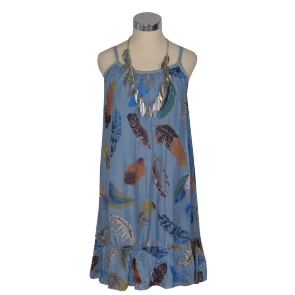 Silk feather print dress