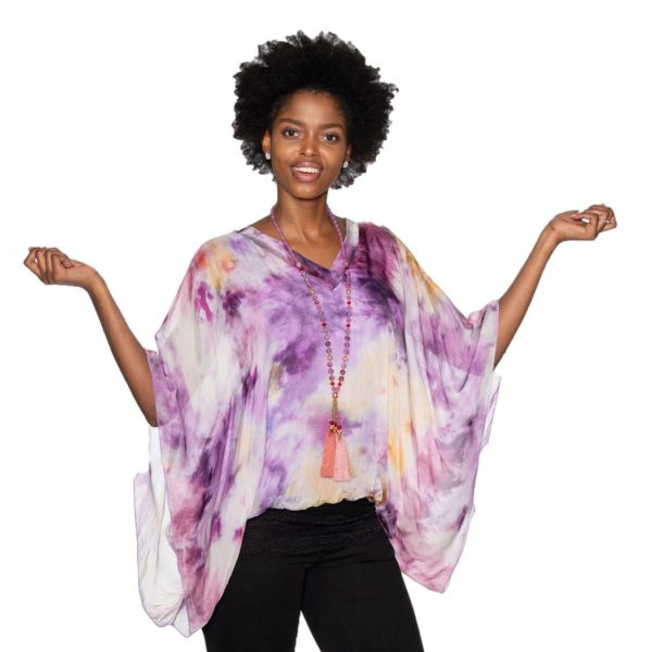Silk tie-dye bubble top