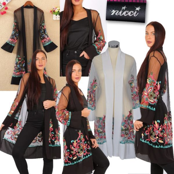 Embroidered mesh coat