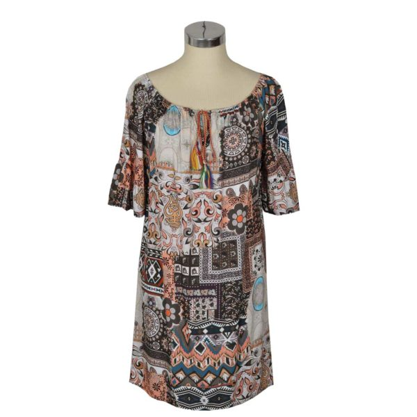 Aztec print sheering dress