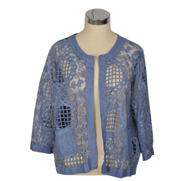 Organza cut out embroidered jacket