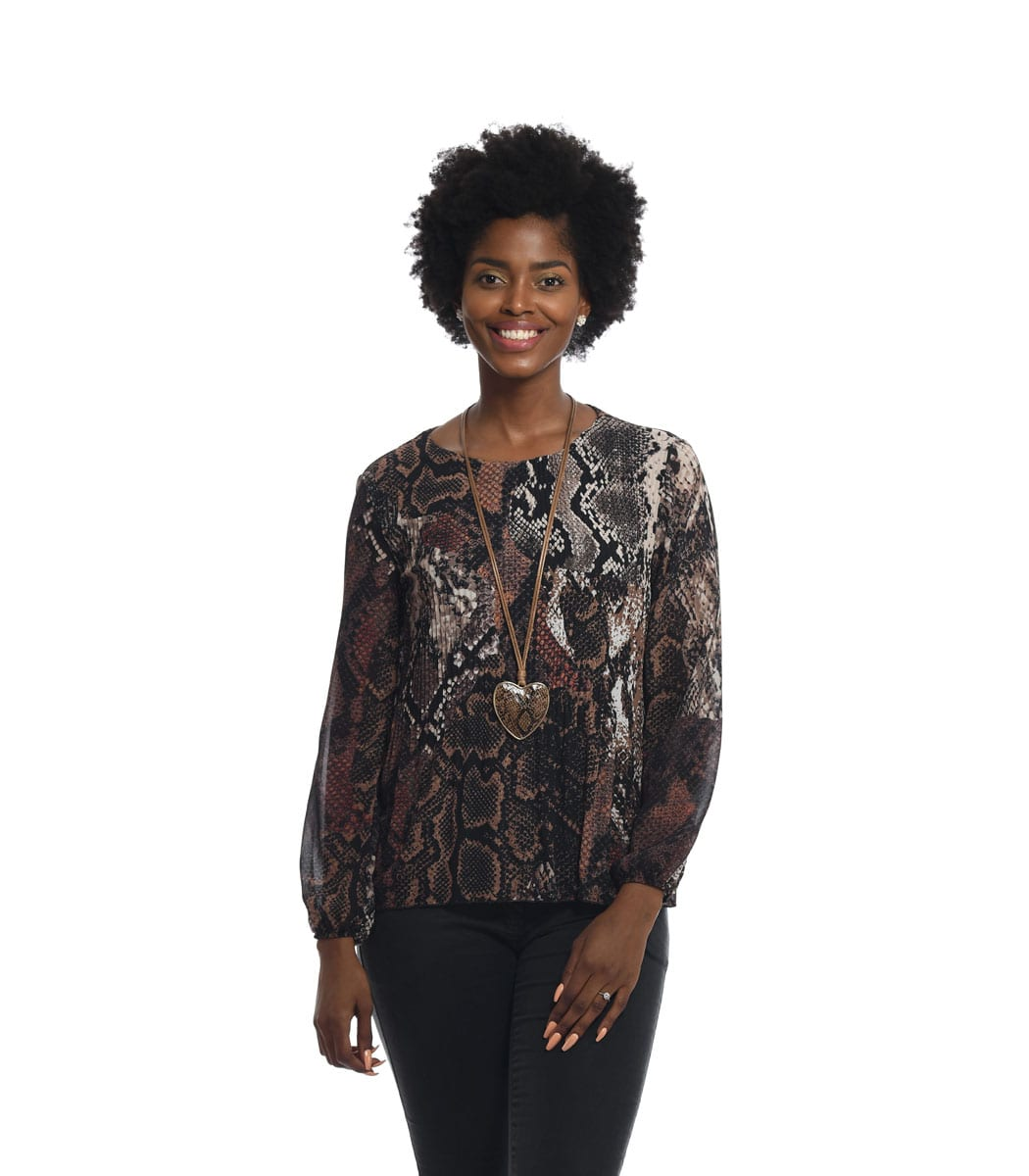 Snake animal print pleated top