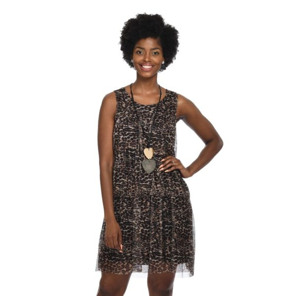 Tiered mesh leopard short dress